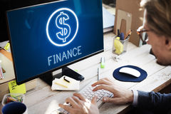 Концепция графиков значков наличных денег денег вклада финансов Стоковые Фото