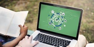 Концепция графиков символа цели цифров Hud Стоковые Изображения