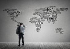 Концепция глобализации и сети с картой дела ключевых слов дела Стоковые Фотографии RF
