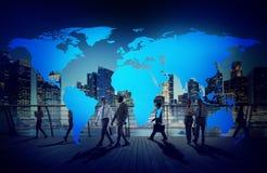 Концепция глобализации соединения карты мира картоведения Стоковое Изображение