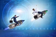 Концепция глобальной конкуренции с гнать бизнесменов Стоковые Фотографии RF