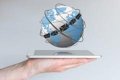 Концепция глобальной связи через электронную почту, болтовню и передающие клиентов иллюстрация вектора