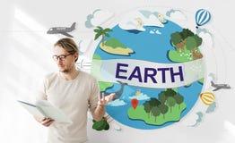 Концепция глобуса консервации окружающей среды экологичности земли Стоковое фото RF