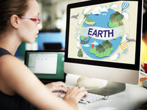 Концепция глобуса консервации окружающей среды экологичности земли Стоковые Изображения