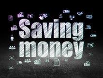 Концепция дела: Деньги сбережений в комнате grunge темной Стоковые Изображения