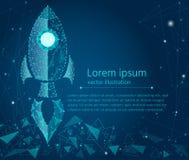 Концепция дела, запуск ракеты, яркий неон от низкого поли wireframe на голубой предпосылке 3 абстрактный вектор текстуры bacgroun бесплатная иллюстрация