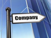 Концепция дела: компания знака на предпосылке здания