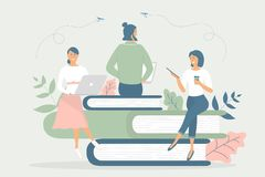 Концепция дела, метафора команды: люди сидят на книгах и работа на тетрадях и планшетах, имеет чашку кофе Квартира иллюстрации ве иллюстрация штока