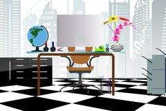 Концепция дела настольный компьютер на стиле офиса плоском с зданиями предсердия иллюстрация штока