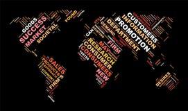 Концепция дела облака слова Карта мира от текста Стоковая Фотография RF