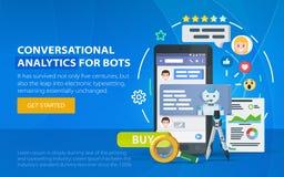 Концепция дела Chatbot абстрактное окно вектора посыльного иллюстрации Chating и концепция послания Chatbot и будущий аналитик ма Стоковые Изображения
