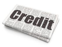 Концепция денег: Кредит на предпосылке газеты иллюстрация вектора