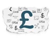 Концепция денег: Фунт на сорванной бумажной предпосылке иллюстрация вектора
