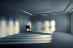 Концепция депрессии, абстрактный один стул 3d в внутреннем пустом ro стоковые фото