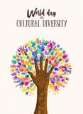 Концепция дерева руки на день разнообразия культур бесплатная иллюстрация
