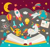 Концепция детей мечтает пока читающ книгу бесплатная иллюстрация