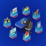 Концепция деятельности при хакера равновеликая иллюстрация вектора