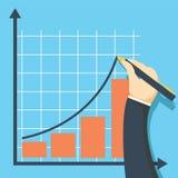 Концепция диаграммы роста Бизнесмен рисует диаграмму финансового уровня вверх Стоковое Изображение