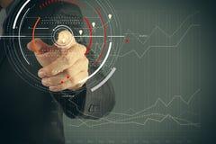 Концепция диаграммы фокуса цели цифровой, диаграммы взаимодействует, виртуальный Стоковые Фото