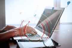 Концепция диаграммы фокуса цели цифровой, диаграммы взаимодействует, виртуальный Стоковое фото RF