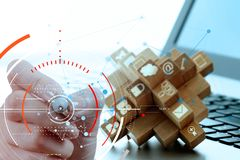 Концепция диаграммы фокуса цели цифровой, диаграммы взаимодействует, виртуальный Стоковая Фотография RF