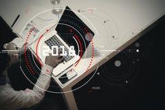 Концепция диаграммы 2018 фокуса цели цифровой, диаграмма взаимодействует, VI Стоковые Фото