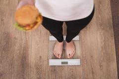 Концепция диеты и фаст-фуда Полная женщина стоя на веся масштабе держа гамбургер бургера Нездоровая высококалорийная вредная пища стоковые изображения