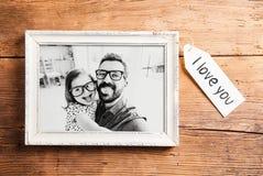 Концепция дня отцов Картинная рамка Деревянная предпосылка стоковые фотографии rf