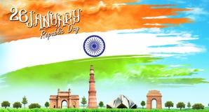 Концепция дня республики 26-ое января Индии дня республики индийская с текстом 26-ое января стоковые изображения
