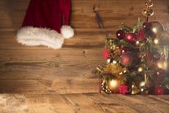 Концепция дня Санта Клауса абстрактный коричневый цвет предпосылки выравнивает изображение Стоковое Фото