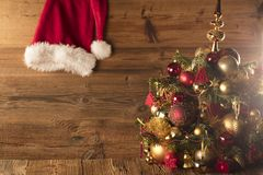 Концепция дня Санта Клауса абстрактный коричневый цвет предпосылки выравнивает изображение Стоковая Фотография