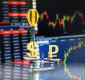 Концепция доллара поддержки курса против евро кран вытягивает доллар вверх и понижает рубль на предпосылке 3d фондовой биржи иллюстрация штока