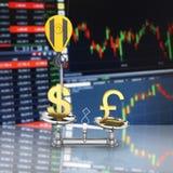 Концепция доллара поддержки курса против евро кран вытягивает доллар вверх и понижает фунт стерлингов на фондовой бирже бесплатная иллюстрация