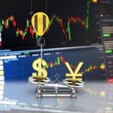 Концепция доллара поддержки курса против иен кран вытягивает доллар вверх и понижает иены на темной предпосылке градиента с иллюстрация вектора