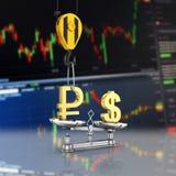 Концепция доллара поддержки курса против рубля кран вытягивает рубль вверх и понижает доллар стерлинговый дальше на фондовой бирж иллюстрация штока