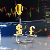 Концепция доллара поддержки курса против фунта кран вытягивает доллар вверх и понижает фунт стерлингов на фондовой бирже иллюстрация вектора