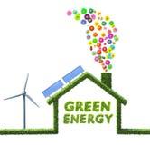 Концепция дома Eco сделанная из травы и цветков иллюстрация штока