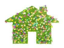 Концепция дома eco сделанная из травы и цветков иллюстрация вектора
