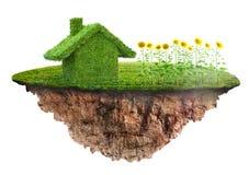 Концепция дома eco сделанная травы иллюстрация вектора