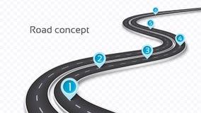 Концепция дороги замотки 3D на прозрачной предпосылке Te срока иллюстрация штока