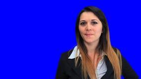 концепция девушки бизнес-леди голубого экрана красивая подписывает вверх вниз с хорошей неудачи сток-видео