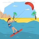 Концепция девушки вектора kitesurfing Стоковые Фото