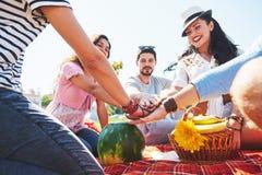 Концепция единства сыгранности друзей Outdoors располагаясь лагерем Стоковая Фотография RF