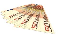 Концепция денег - несколько банкнот евро Стоковые Изображения