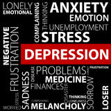 Концепция депрессии сделанная с словами Стоковое Изображение