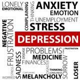 Концепция депрессии сделанная с словами Стоковые Фотографии RF