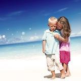 Концепция детей наслаждения потехи семьи пляжа лета Стоковое Изображение