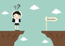 Концепция дела, бизнес-леди смущает о как к поперек к другой скале Стоковые Фотографии RF