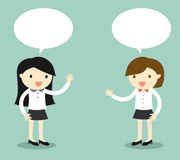 Концепция дела, говорить 2 бизнес-леди также вектор иллюстрации притяжки corel Стоковые Фото