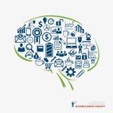 Концепция дела значка мозга Стоковая Фотография RF